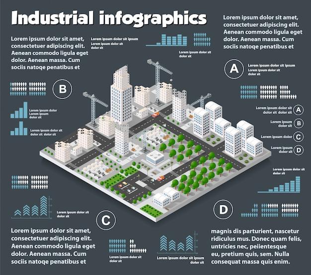 Stadt isometrische industrie Premium Vektoren