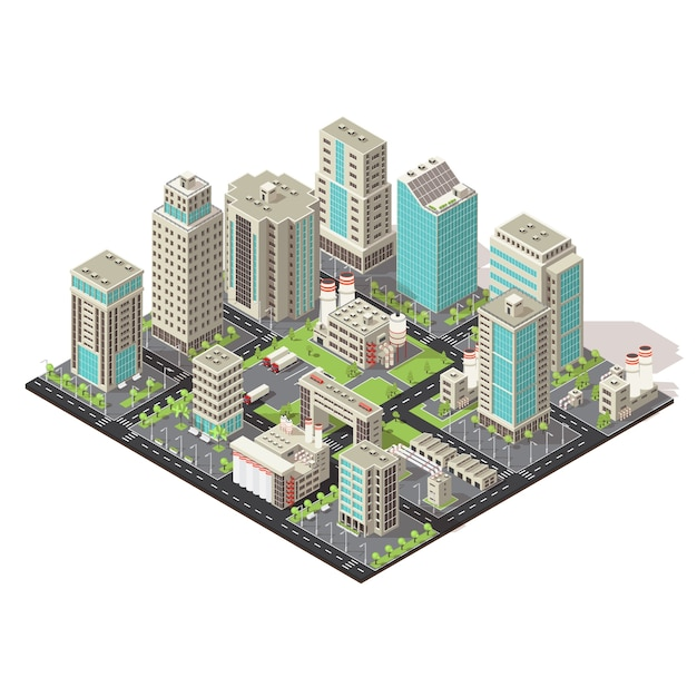 Stadt isometrisches symbol konzept Kostenlosen Vektoren