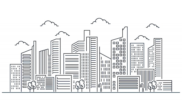 Stadt linie illustrationsdesign Premium Vektoren