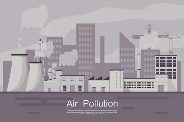 Stadt mit luftverschmutzung durch anlage und rohr schmutzig. Premium Vektoren