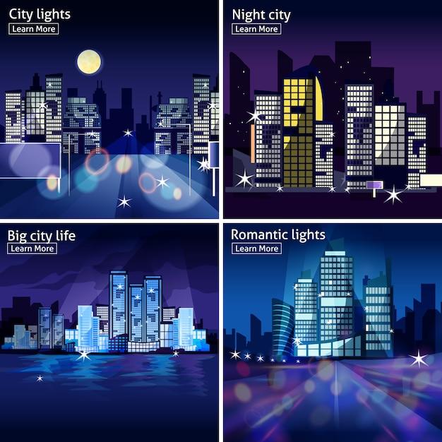 Stadt-nachtlandschaft-icon-set Kostenlosen Vektoren