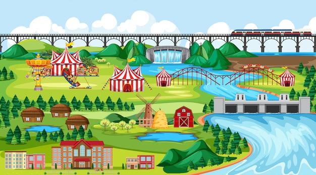 Stadt oder stadt mit vergnügungspark und flusslandschaftsszene Kostenlosen Vektoren