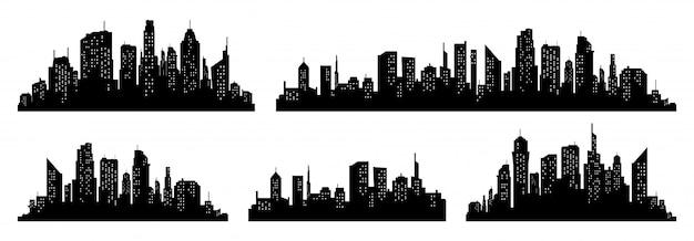 Stadt silhouette vektor festgelegt Premium Vektoren