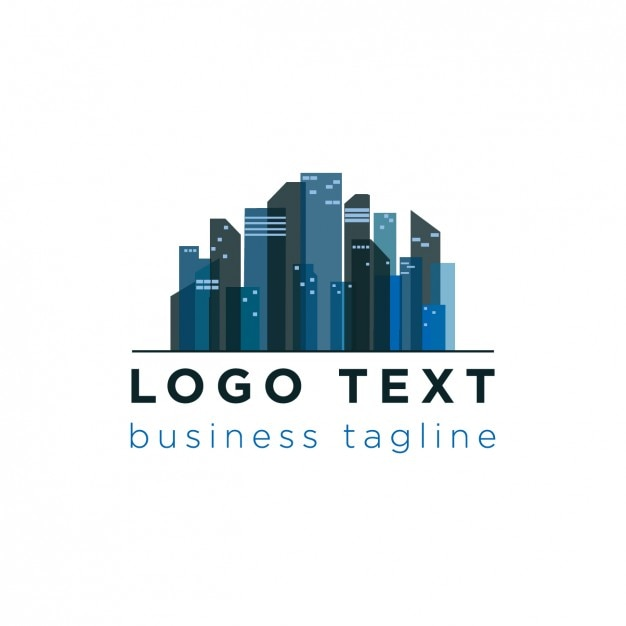 Stadt-skyline-logo in blautönen Kostenlosen Vektoren
