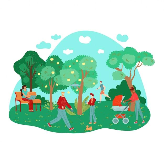 Stadt sommerpark menschen im freien arbeiten, zu fuß sport, bäume, bänke auf gras zusammensetzung illustration. Premium Vektoren
