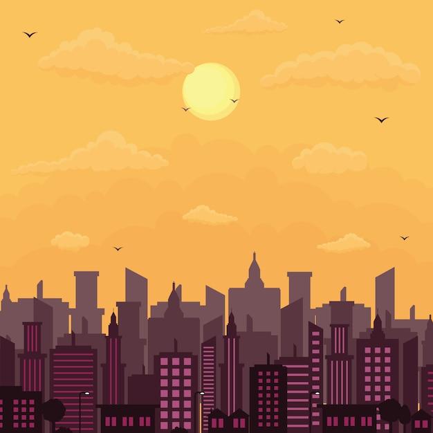 Stadt-stadtbild-skyline-landschaftsgebäude-illustration Premium Vektoren
