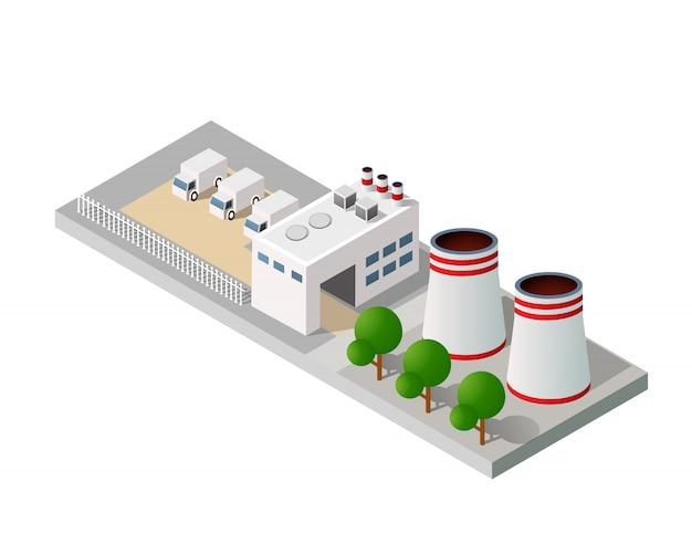 Stadt städtische fabrik Premium Vektoren