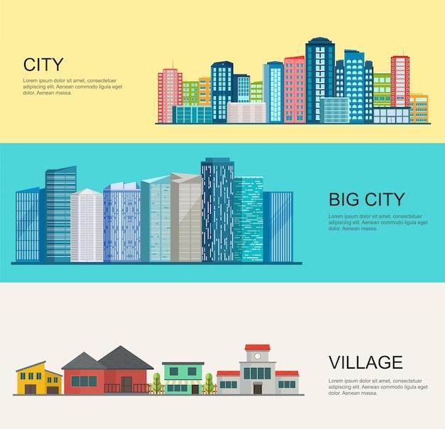 Stadt- und dorflandschaft, moderne großstadt Premium Vektoren