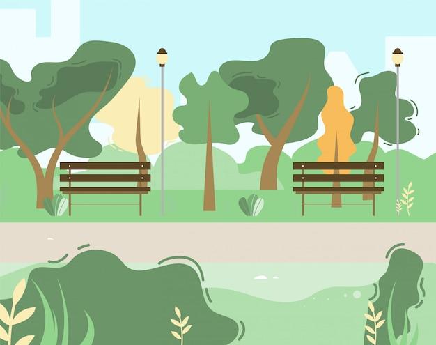 Stadt- und stadtpark-szene mit grünen bäumen, büschen, holzbanken Premium Vektoren