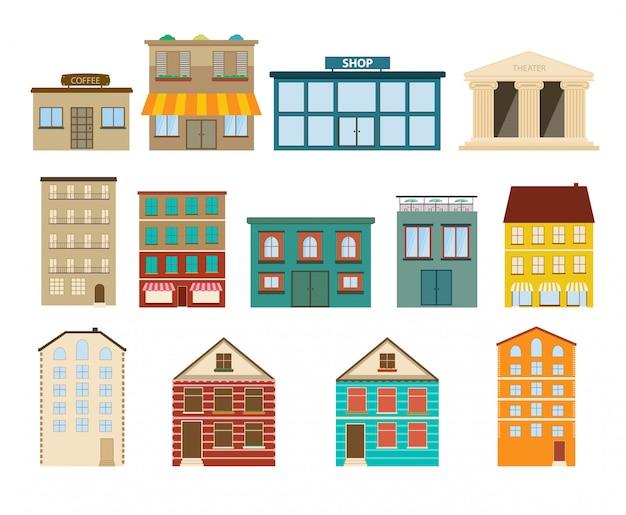 Stadt- und vorortgebäudeikonen auf weißem hintergrund Premium Vektoren