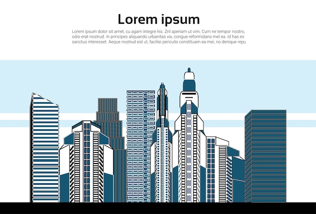 Stadt wolkenkratzer ansicht natur verschmutzung Premium Vektoren
