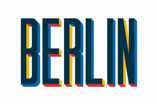 Stadtbeschriftung mit berlin-konzept Premium Vektoren