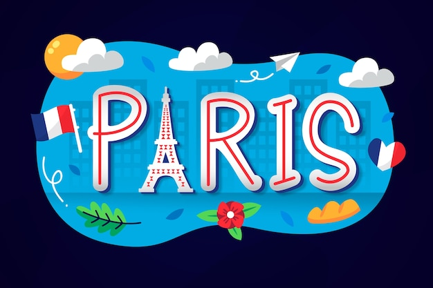 Stadtbeschriftung mit paris-wort Kostenlosen Vektoren