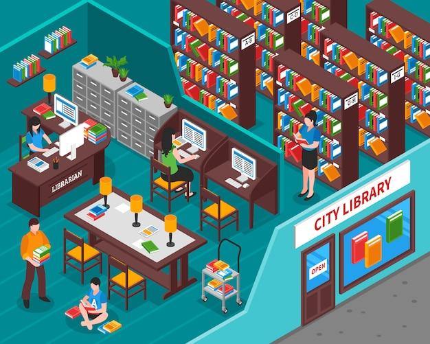Stadtbibliothek isometrische illustration Kostenlosen Vektoren