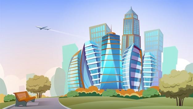 Stadtbild cartoon hintergrund. panorama der modernen stadt mit hohen wolkenkratzern und park, im stadtzentrum gelegen Kostenlosen Vektoren