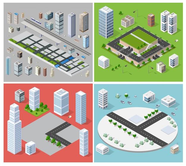 Stadtbild-design-elemente Premium Vektoren
