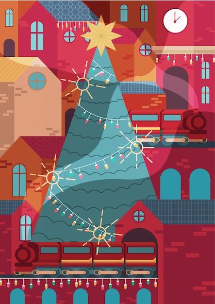 Stadtbild, die stadtdekoration zu weihnachten Premium Vektoren