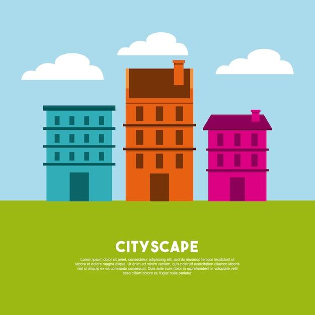 Stadtbild gebäude skyline symbol Premium Vektoren