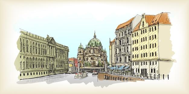Stadtbild in deutschland. berliner dom. handgezeichnete skizzenillustration des alten gebäudes Premium Vektoren