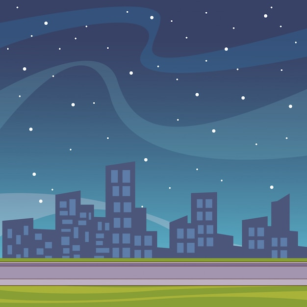 Stadtbild landschaft cartoon Premium Vektoren