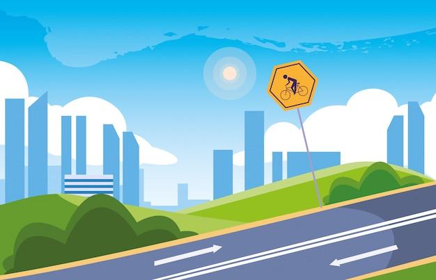 Stadtbild mit beschilderung für radfahrer Premium Vektoren