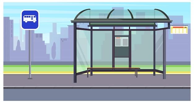 Stadtbild mit leerer Bushaltestelle und Zeichenillustration Kostenlose Vektoren