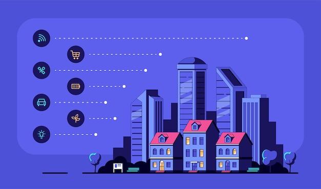 Stadtbild mit modernen wohnhäusern und ikonen. Premium Vektoren