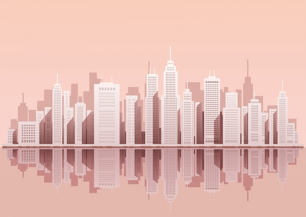 Stadtbild mit wolkenkratzern, vektorillustration. Premium Vektoren