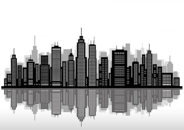 Stadtbild silhouette Premium Vektoren