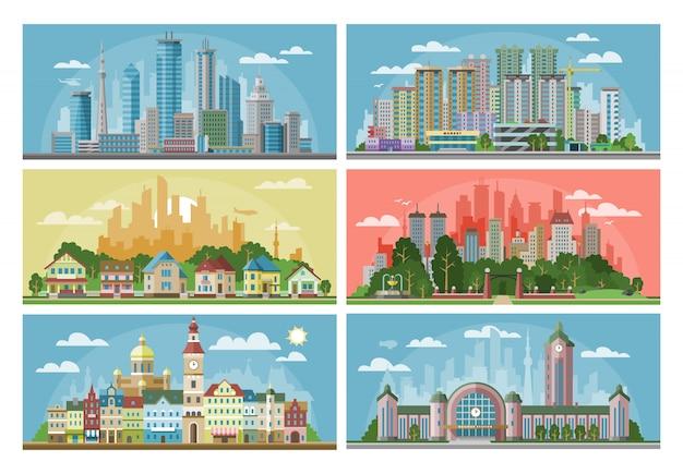 Stadtbild stadtlandschaft mit stadtarchitektur gebäude oder bau und häuser in der stadt straßen illustration satz der innenstadt szene mit skyline und wolkenkratzer Premium Vektoren