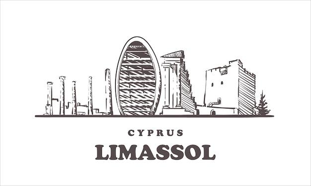 Stadtbild von limassol, zypern Premium Vektoren