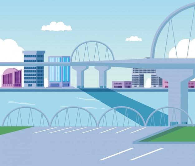 Stadtbildgebäudeszenentag mit brücke Premium Vektoren