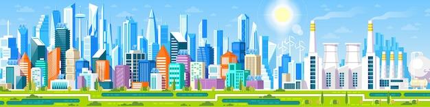 Stadtbildpanorama mit verschiedenen gebäuden, bürozentrum, stor Premium Vektoren