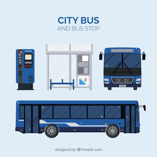Stadtbus und bushaltestelle mit flachem design Kostenlosen Vektoren