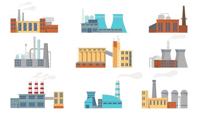 Stadtfabriken eingestellt Kostenlosen Vektoren