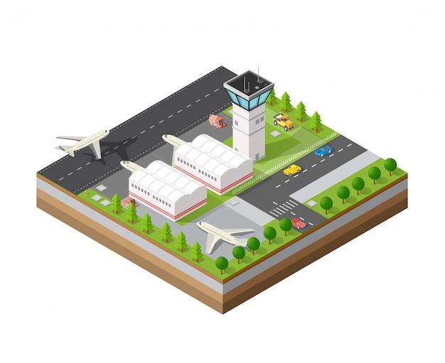 Stadtflughafen mit transport Premium Vektoren
