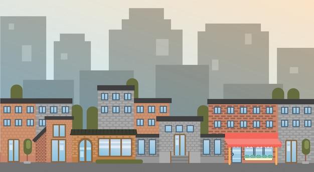 Stadtgebäude beherbergt stadtansicht-schattenbild-skyline-hintergrund Premium Vektoren