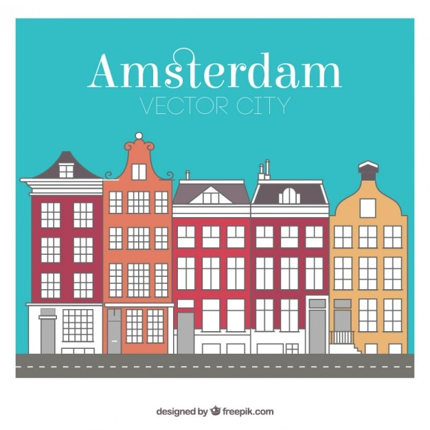 Stadtgebäude colored amsterdam Kostenlosen Vektoren