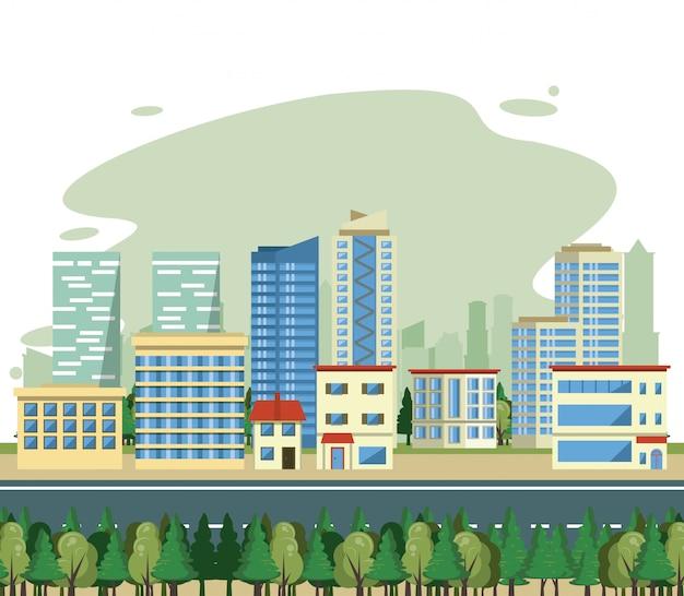 Stadtgebäudestadtbild-ansicht scenary Kostenlosen Vektoren