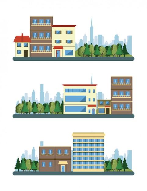 Stadtgebäudestadtbild-ansichtszenarien Kostenlosen Vektoren