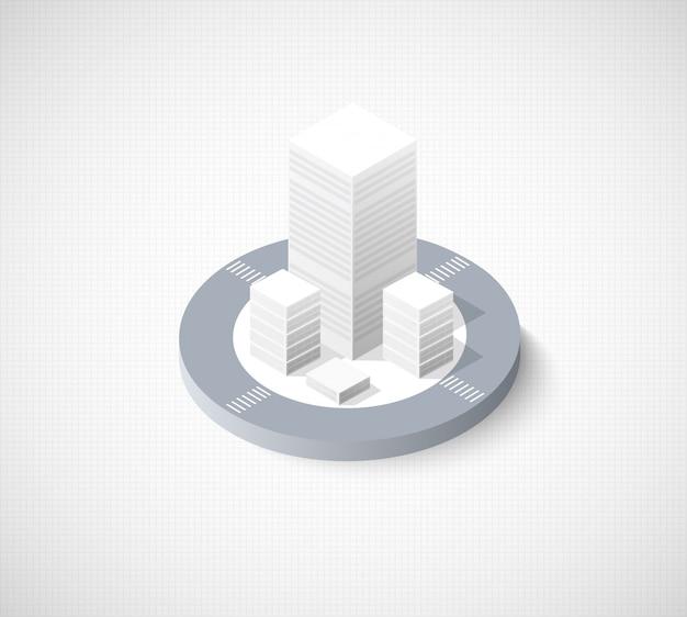 Stadtgebiet der isometrischen illustrationsstadt Premium Vektoren