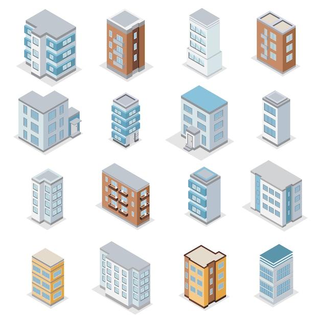 Stadthausbauikonen stellten mit isometrischer isolierter illustration der stadtlandschaft ein Kostenlosen Vektoren
