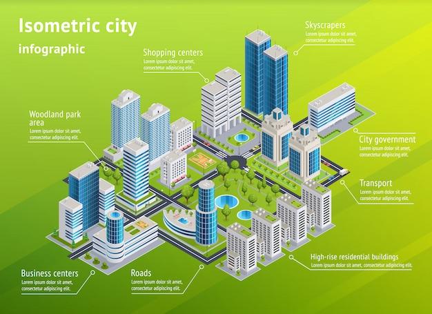 Stadtinfrastruktur isometrische infografiken Kostenlosen Vektoren