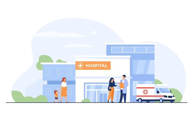 Stadtkrankenhausgebäude Kostenlosen Vektoren