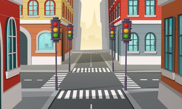 Stadtkreuzung mit ampeln, kreuzung. karikaturillustration der städtischen landstraße Kostenlosen Vektoren