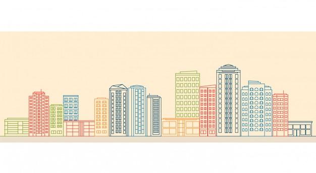 Stadtlandschaft mit gebäuden und geschäften im linienstil. Premium Vektoren
