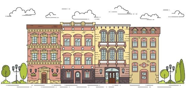 Stadtlandschaft mit häusern, bäumen und wolken. vektor-illustration flache linie kunststil. Premium Vektoren