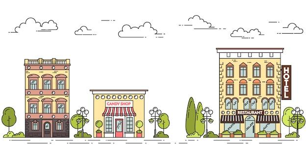 Stadtlandschaft mit häusern, café, bäumen, wolken. vektor-illustration flache linie kunst. Premium Vektoren