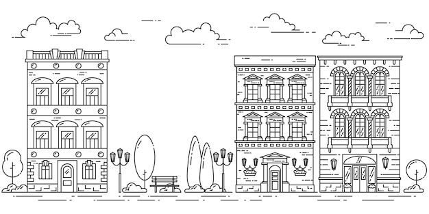 Stadtlandschaft mit häusern, park, bäumen, wolken. vektor-illustration flache linie kunst. Premium Vektoren