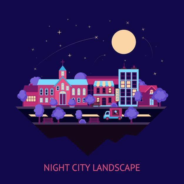 Stadtlandschaft nacht hintergrund Kostenlosen Vektoren